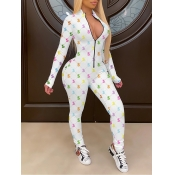 lovely Stylish Print Zipper Design White One-piece Jumpsuit