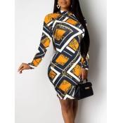 lovely Trendy Versace Print Gold Knee Length Dress