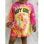 lovely Street O Neck Tie-dye Yellow Girl Mini Dress