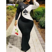 Lovely Casual O Neck Print Patchwork Black Maxi Dr