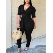 Lovely Trendy V Neck Fold Design Black One-piece Jumpsuit