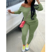 Lovely Casual Basic Skinny Green Plus Size Two-piece Pants Set