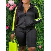 Lovely Sportswear Turndown Collar Patchwork Black Two Piece Shorts Set