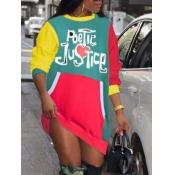 Lovely Street O Neck Patchwork Letter Print Green Mini Dress