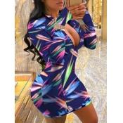 Lovely Trendy Print Zipper Design Blue Mini Dress(
