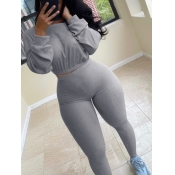 lovely Leisure O Neck Basic Skinny Grey Two Piece Pants Set