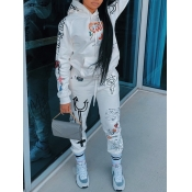Lovely Sportswear Hooded Collar Print White Two Piece Pants Set