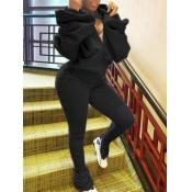 Lovely Sportswear Hooded Collar Fold Design Black Two Piece Pants Set