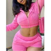 lovely Stylish Turndown Collar Zipper Design Pink Two Piece Shorts Set