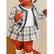 lovely Sweet Grid Print White Girl Two-piece Skirt Set