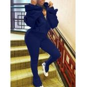 lovely Sportswear Hooded Collar Fold Design Blue Two Piece Pants Set