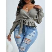 Lovely Casual V Neck Fold Design Grey Plus Size Sw