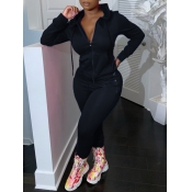 Lovely Casual Hooded Collar Zipper Design Black Two Piece Pants Set