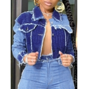 Lovely Casual Turndown Collar Patchwork Blue Denim Jacket