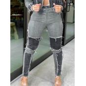 Lovely Trendy Patchwork Black Jeans