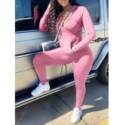 Lovely Casual Turndown Collar Zipper Design Pink Two Piece Pants Set