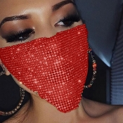 Lovely Sweet Sequined Red Face Mask