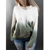 lovely Casual Hooded Collar Gradient Green Plus Si
