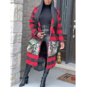 Lovely Stylish Turndown Collar Grid Print Red Long Trench Coat