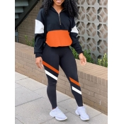 lovely Sportswear Dropped Shoulder Sleeve Patchwork Black Two Piece Pants Set