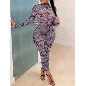 Lovely Trendy Striped Print Navy Blue Ankle Length Dress(Batch Print)