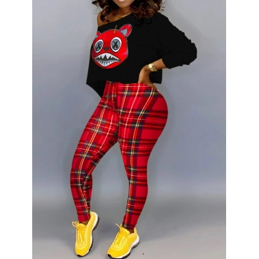 Lovely Casual Cartoon Print Black Plus Size Two Pi
