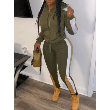 Lovely Sportswear Hooded Collar Patchwork Army Gre