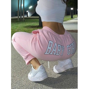 Lovely Casual Letter Print Pink Pants