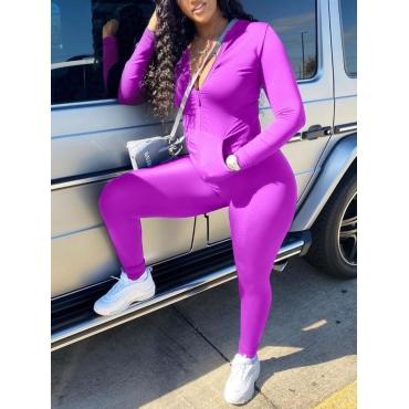 LW Casual Turndown Collar Zipper Design Purple Two Piece Pants Set
