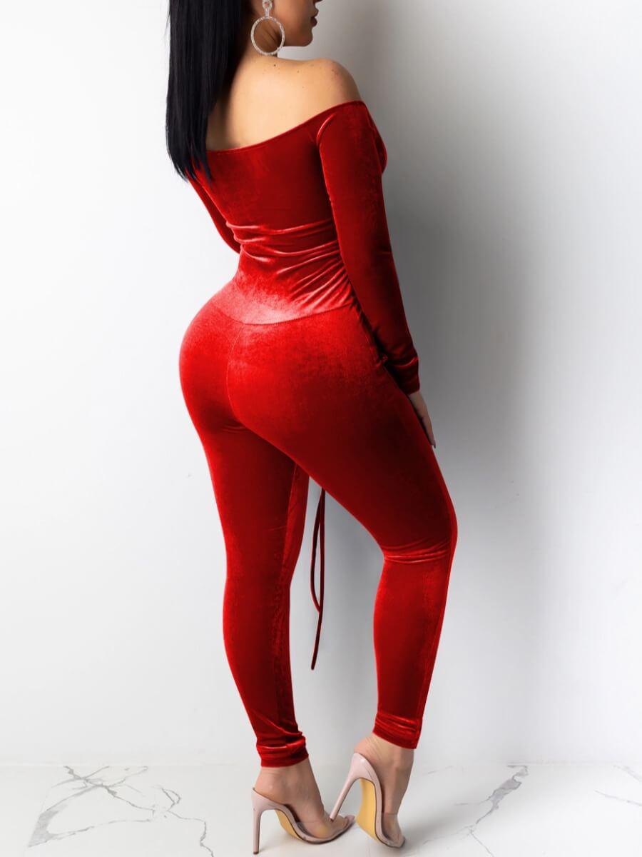 lovely Stylish Bandage Design Skinny Red One-piece