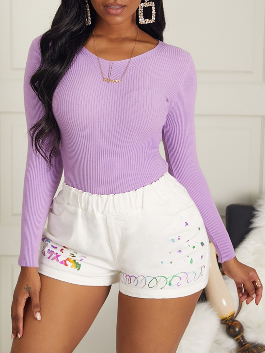 lovely Casual V Neck Long Sleeve Purple Sweaters