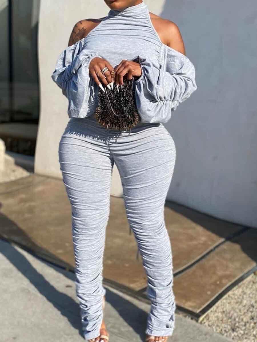 LW Trendy Backless Fold Design Grey Two Piece Pants Set