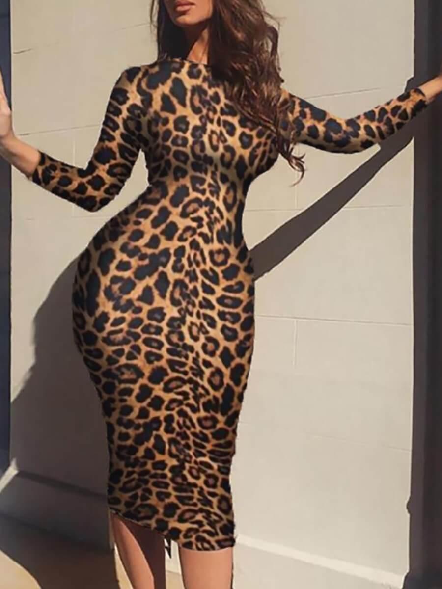 Lovely Stylish O Neck Leopard Print Knee Length Dr