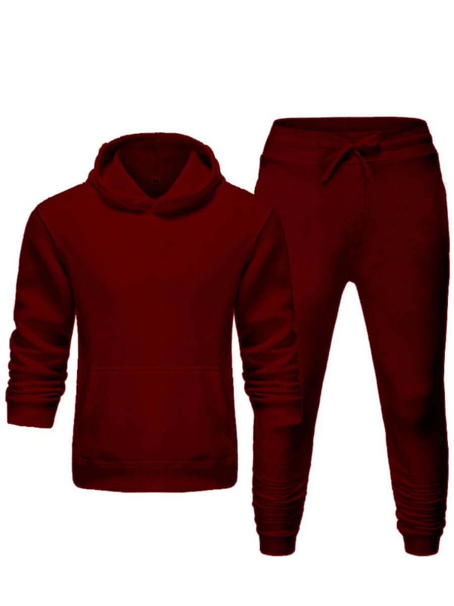 Lovely Casual Hooded Collar Basic Wine Red Men Two