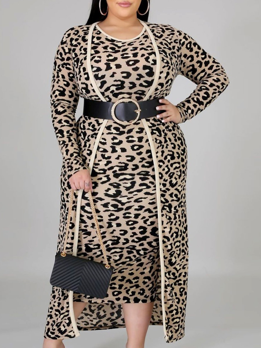 Lovely Trendy Leopard Print Plus Size Two-piece Skirt Set фото