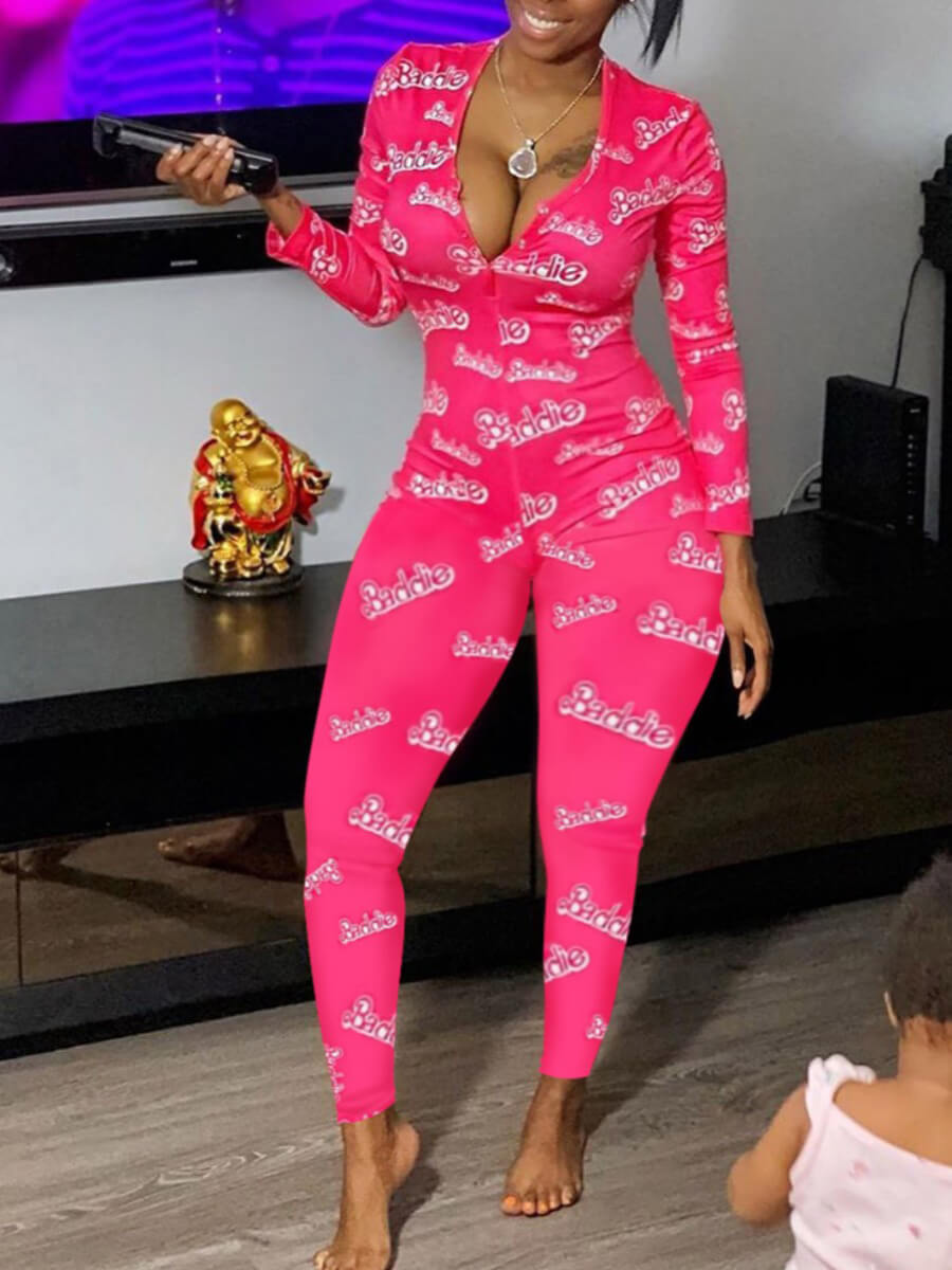 Lovely Sexy Letter Print Skinny Pink Plus Size One