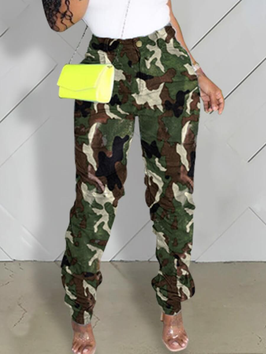 lovelywholesale / LW lovely Casual Camo Print Green Jeans
