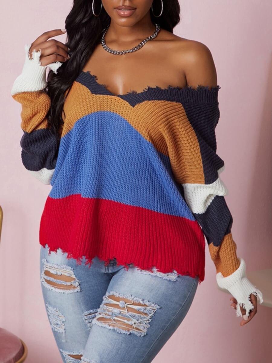 Sweaters & Cardigans lovely Trendy V Neck Striped Navy Blue Sweater фото