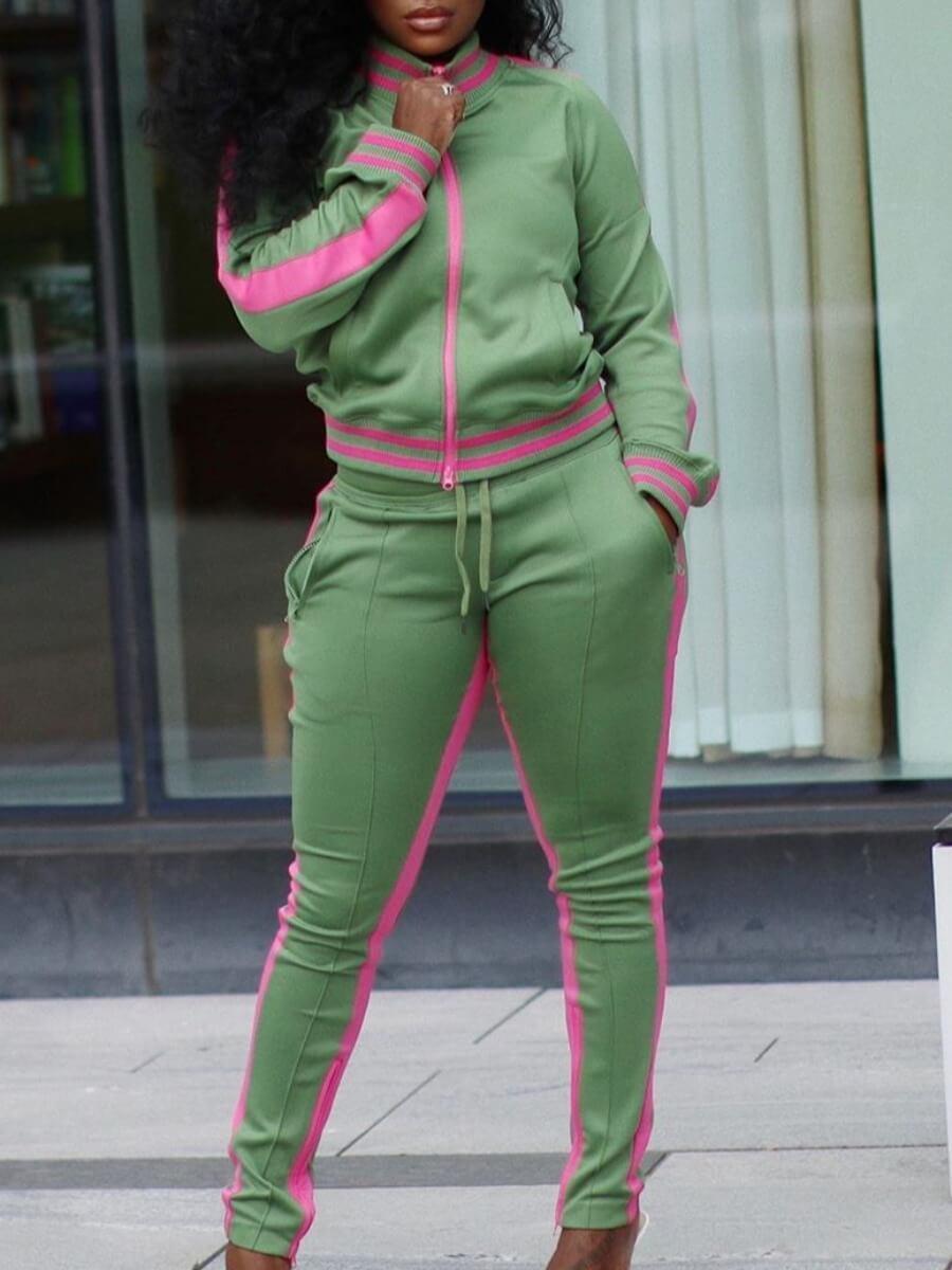 Lovely Sportswear Patchwork Zipper Design Green Tw