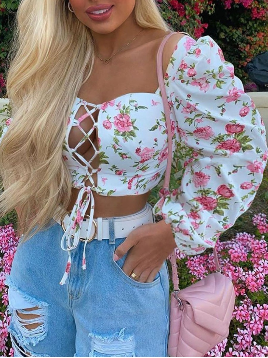 lovelywholesale / Lovely Sweet Floral Print Bandage Design White Blouse(Batch Print)