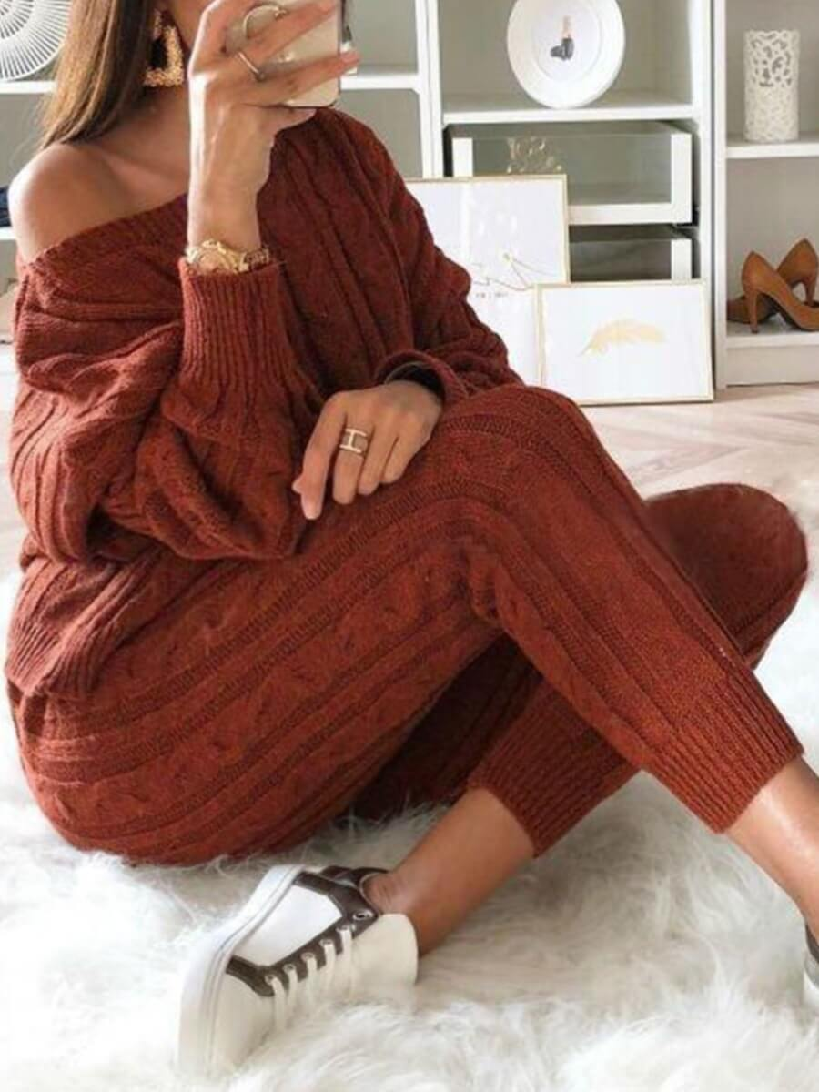 LW BASICS Casual O Neck Striped Wine Red Two Piece Pants Set