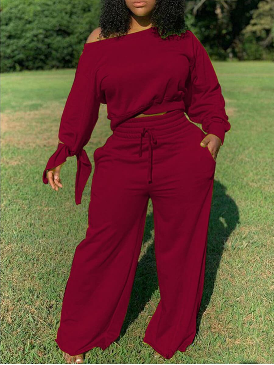 Lovelywholesale coupon: Lovely Plus Size Casual Drawstring Loose Wine Red Two-piece Pants Set