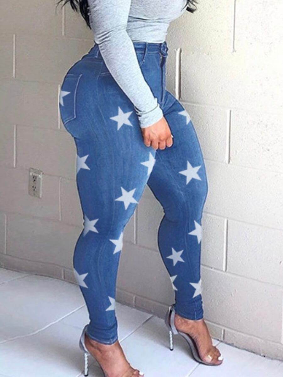 Lovely Casual Pentagram Print Baby Blue Jeans