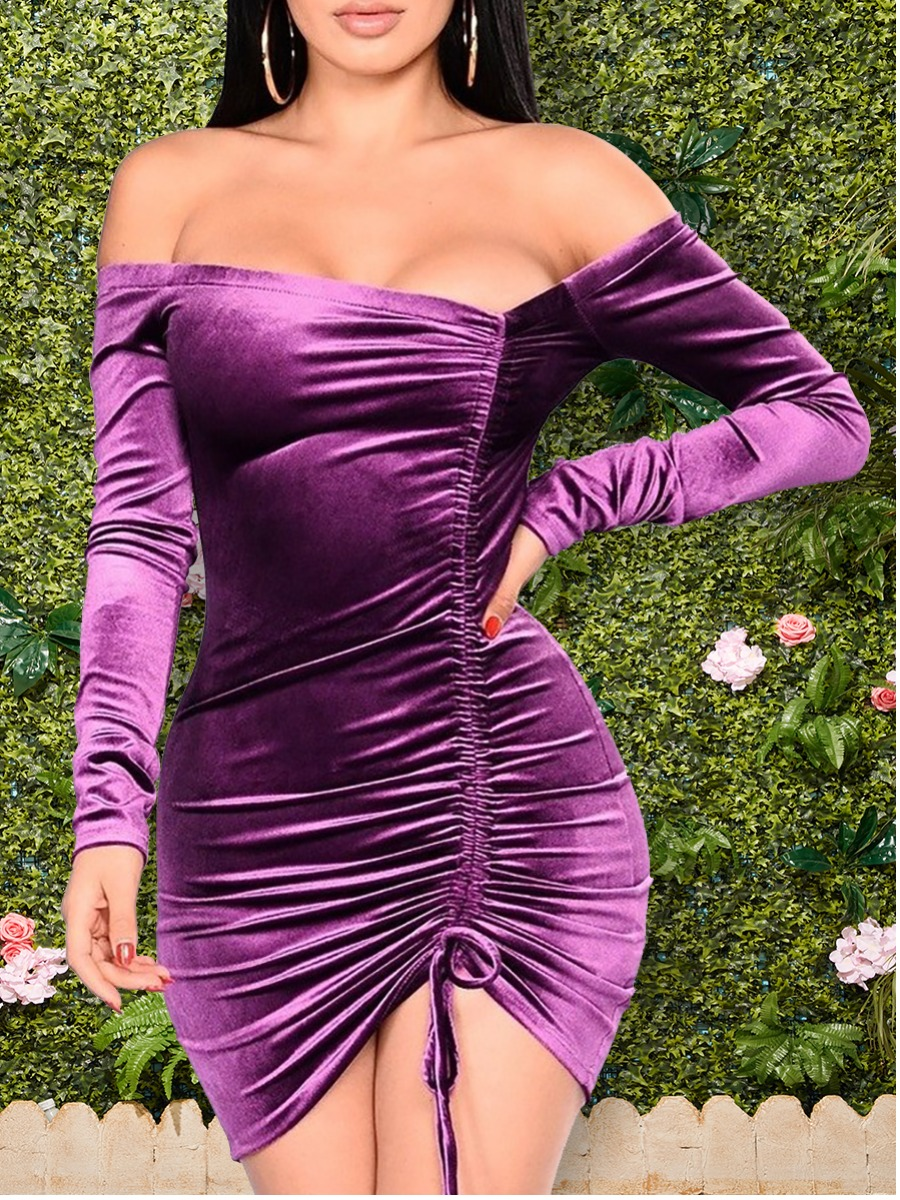 LW Velvet Off The Shoulder Drawstring Dress