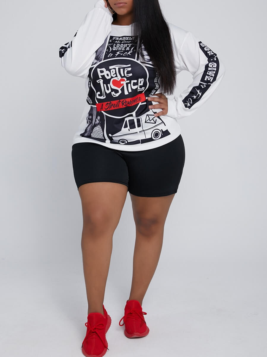 Lovely Casual O Neck Print Black Plus Size Two-pie