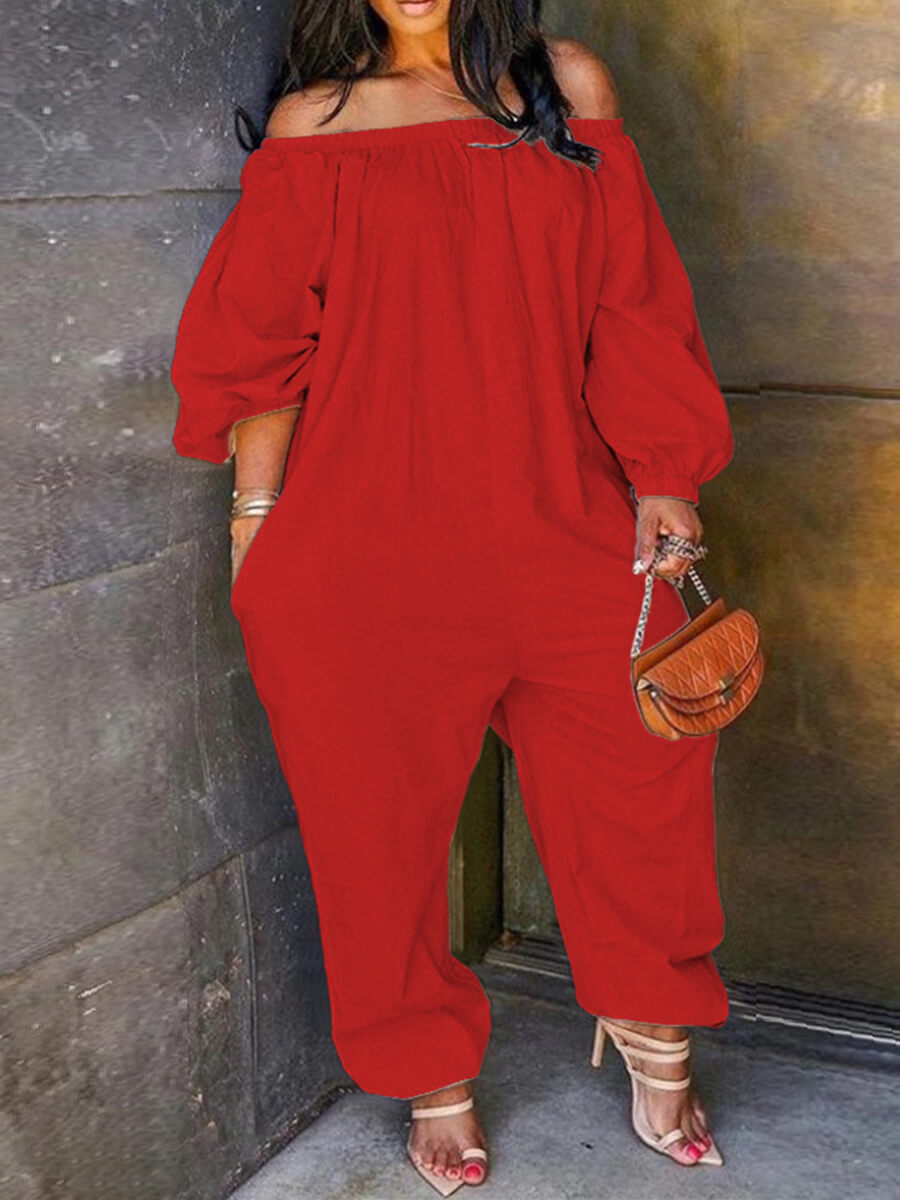 Lovely Leisure Loose Red Plus Size One-piece Jumpsuit