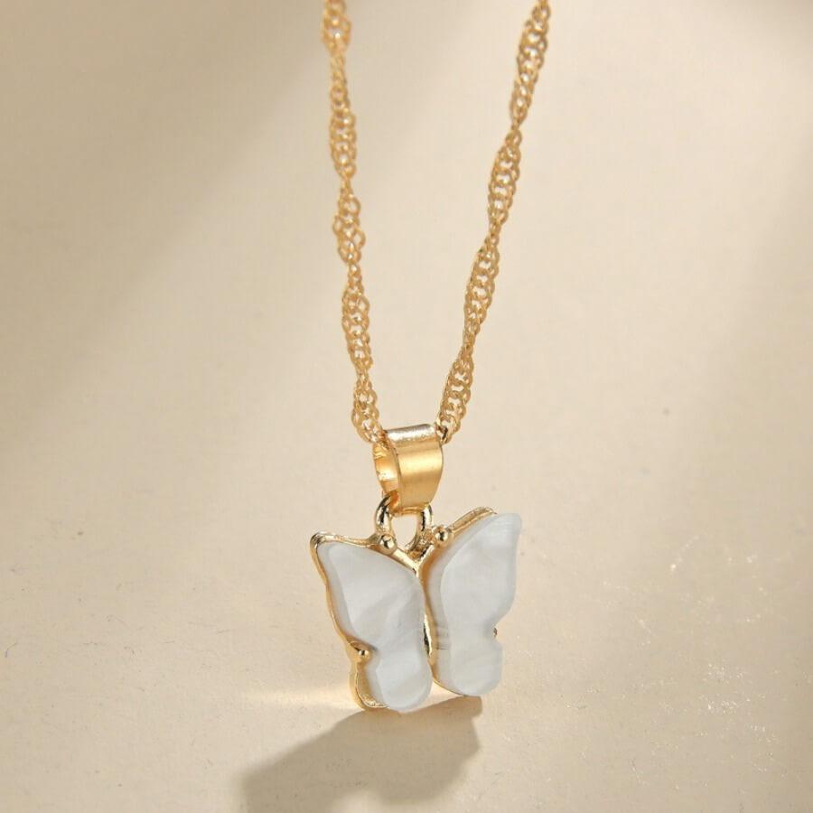 Lovely Stylish Butterfly White Necklace