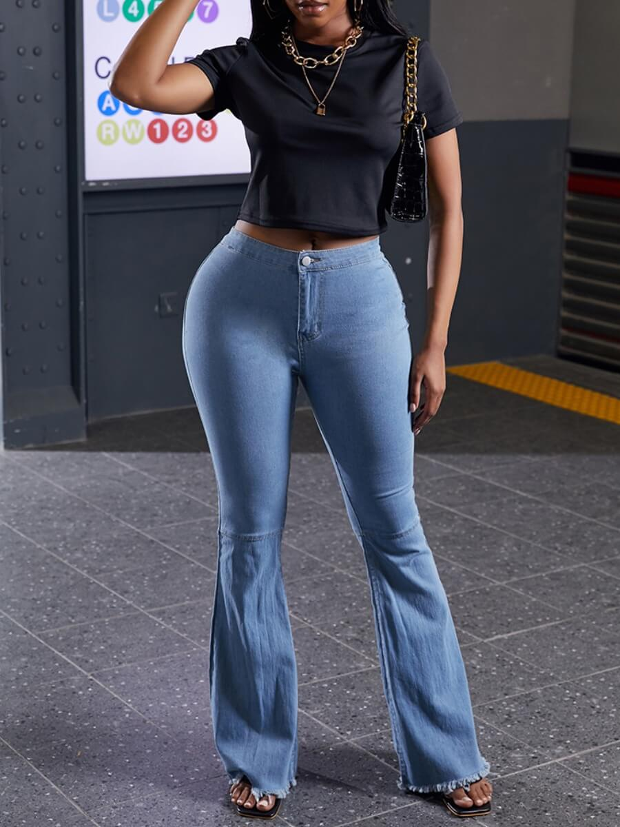 Lovely Trendy Flared Blue Jeans