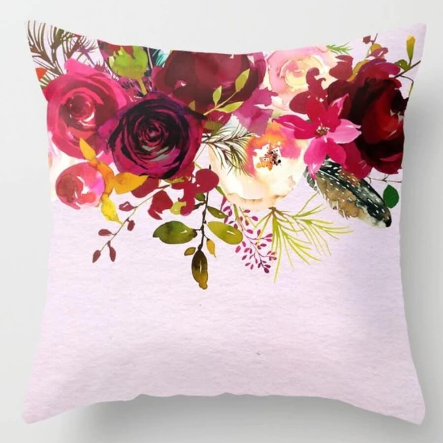 lovely Trendy Plants Print Rose Red Decorative Pillow Case