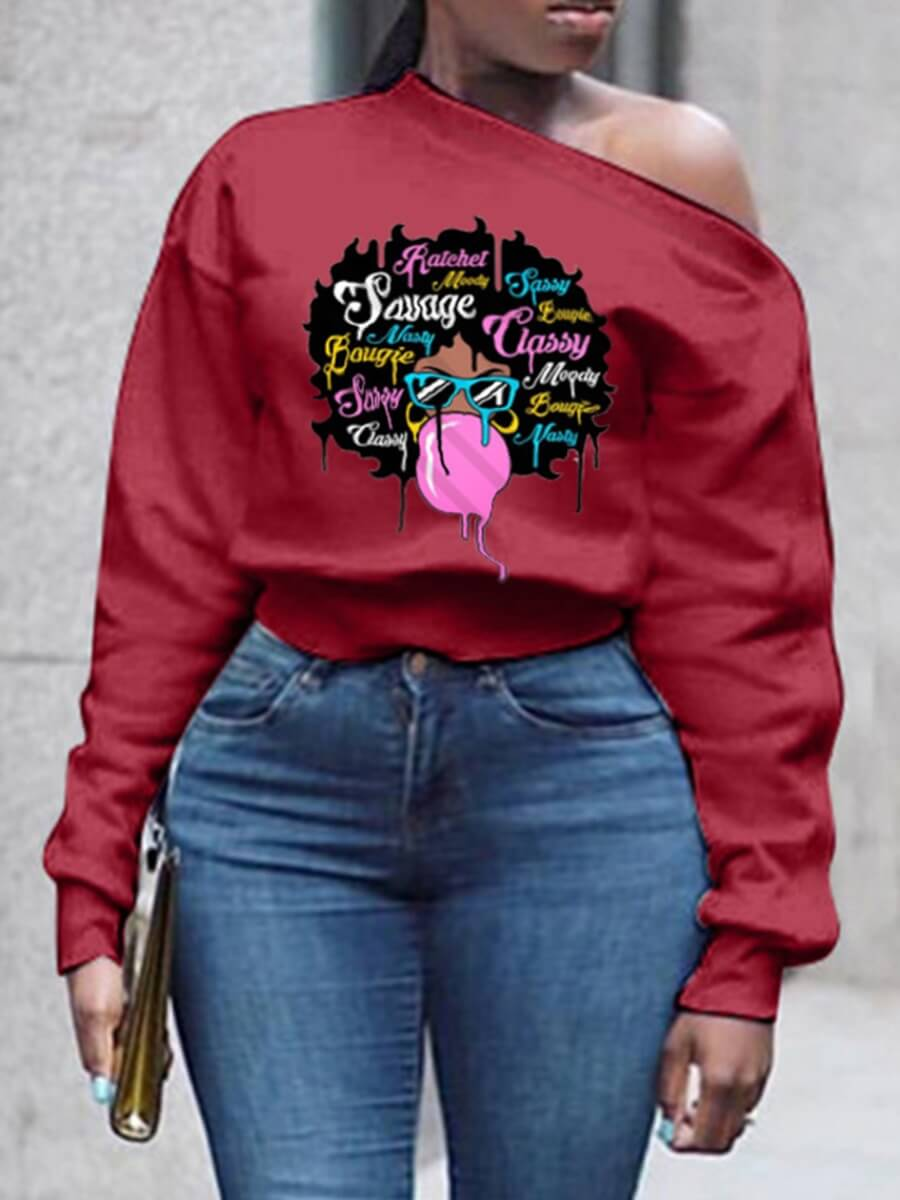 Lovely Casual O Neck Print Red Plus Size Hoodie